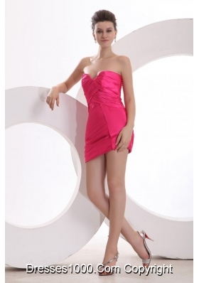 Sexy Hot Pink Sweetheart Ruching Mini-length Prom Cocktail Dress