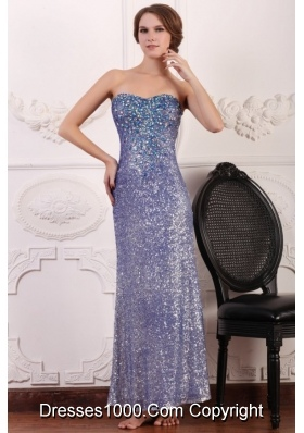 Lavender Sequins Column Ankle-length Sweetheart Dresses for Prom