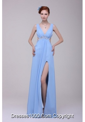 Gorgeous Blue V-neck High Slit Cutout Chiffon Prom Evening Dresses