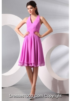 Simple Lilac Halter Top Ruching Knee-length Chiffon Prom Gown Dress