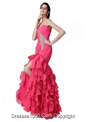 Mermaid Sweetheart Beading Ruffles Coral Red Prom Dress with High Slit