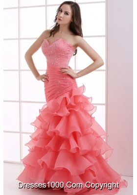 Beautiful Coral Red Mermaid Prom Dress with Beading and Ruffled Layers