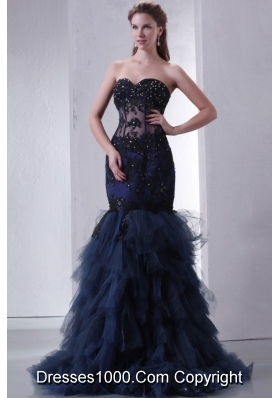 2014 Navy Blue Mermaid Sweetheart Appliques and Beading Prom Dress