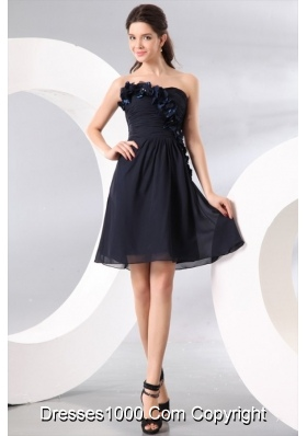 Navy Blue Strapless Hand Made Flowers Short Prom Homecoming Dress