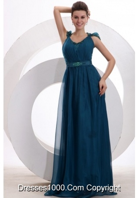 Formal Teal Prom Dress with Tulle Overlay and See-through Lace on Back