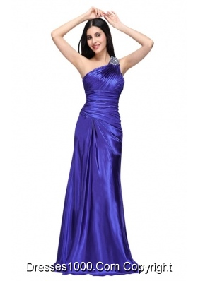 One Shoulder Beading and Ruche Column Prom Evening Dress