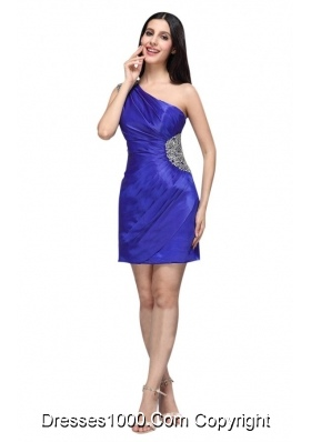 Royal Blue One Shoulder Column Beaded Decorate Cocktail Dress