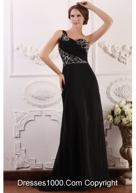 Paillettes Decorated One Shoulder Black Brush Train Prom Gown Dress
