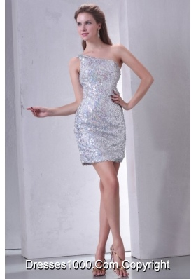 Cute Silver Mini-length One Shoulder Sequin Prom Homecoming Dress