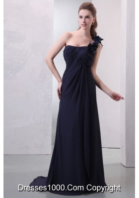 Wonderful One Shoulder Hand Made Flowers Chiffon Prom Dress