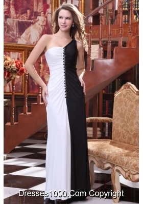 Black and White One Shoulder Full Length Prom Dresses with Beading