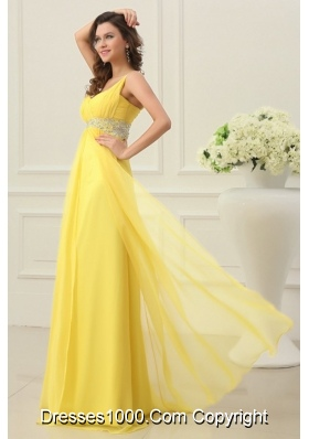 Yellow Spaghetti Straps Princess Chiffon Prom Gown Dresses on Sale