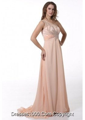 Empire Beaded One Shoulder Brush Train Prom Dress in Peach Color ...