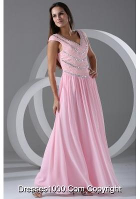 Pink Empire Beaded V-neck Cap Sleeves Sweetheart Dresses for Prom