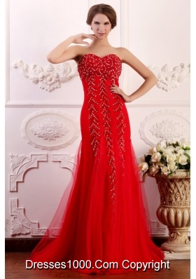 Fashion Red Column Sweetheart Brush Train Prom Dress with Beading