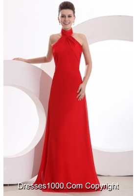 High End Red Halter Top Prom dress by Chiffon Fabric and Chapel Train