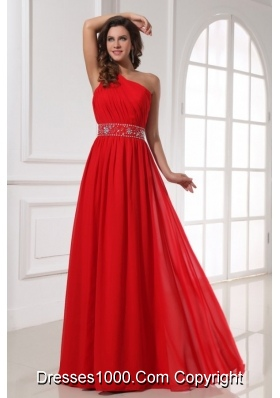 Single Shoulder Red Chiffon Prom Gown Dress with Beaded Waist