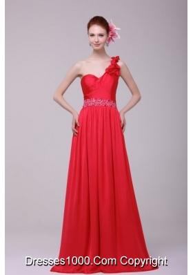 Ruffles and Paillettes Single Shoulder Brush Train Prom Dresses