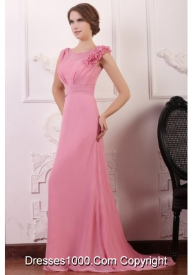 Elegant Rose Pink Empire Flowers V-neck Prom Gowns with Brush Train
