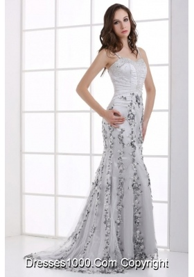 Fitted Silver Column Beading and Appliques Prom Evening Dress