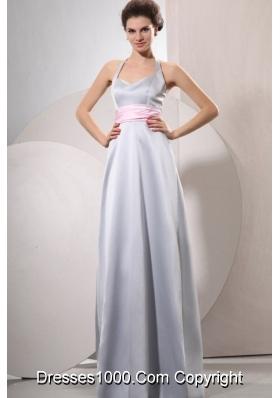 Wonderful Silver Empire Halter Top Evening Dress For Women