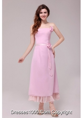 Strapless Ankle-length Prom Dress with Handle Flowers for Lady