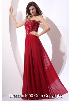 Strapless Beaded Decorate Floor-length Wine Red Prom Pageant Dress