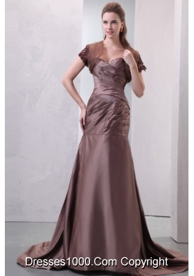 Hot Chocolate Sweetheart Ruche Prom Dress with Train