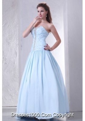 Sassy Princess Light Blue Prom Celebrity Dress Decorated with Beading