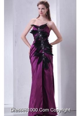 Beading and Feathers Sheath Sweetheart Purple Taffeta Prom Dresses