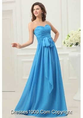 Discount Teal Empire Chiffon Ruche and Bowknot Prom Dress
