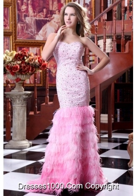 Pink Mermaid Beading and Layers Sweep Train Prom Pageant Dress