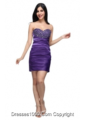 Fitted Purple Sweetheart Mini-length Beaded Decorate Cocktail Dress