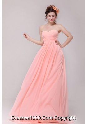 Empire Sweetheart Chiffon Prom Gown Dresses in Baby Pink with Train
