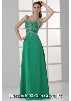 Turquoise Empire Straps Beading Floor-length Prom Homecoming Dress