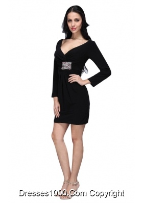 Black Mini-length Beaded Decorate Prom Dress with Long Sleeves