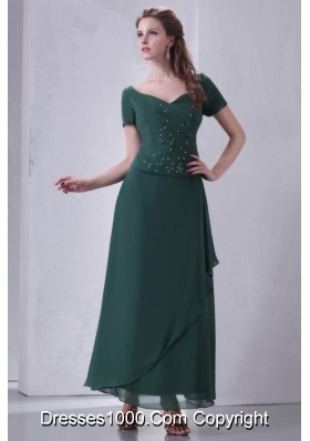 Sassy Short Sleeves Ankle-length Teal Chiffon Prom Mother Dress