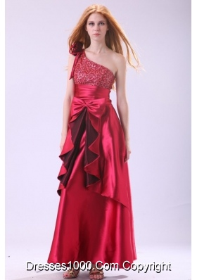 Ruffles Sequins and Bowknot One Shoulder Long Prom Dress for Ladies