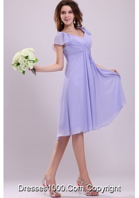 Simple Empire Cap Sleeves Lavender Ruching Short Prom party Dress