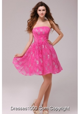 2014 Sweet Hot Pink Strapless Knee-length Dress for Prom Night