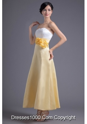 Fresh White and Yellow Ankle Length Prom Dress with Flowers