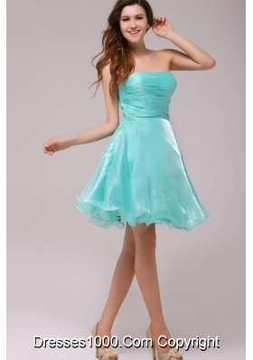 Cute Strapless Aqua Blue Organza Ruching Prom Dress for Party