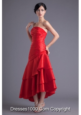 Asymmetrical Red Strapless Dance Dress with Ruches and Layers