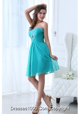 Aqua Blue Sweetheart Short Party Dress with Beading Bust
