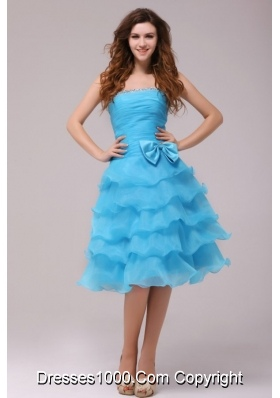 Baby Princess Strapless Ruffled Layers Prom Pageant Dress with Bowknot