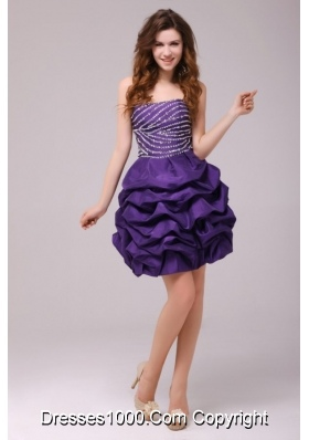 Grape Beaded Bodice Knee Length Prom Dress with Pick Ups