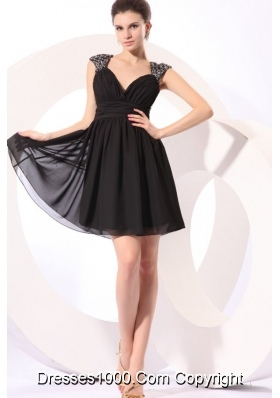 Black Sweetheart Prom Dress with Beading Straps and Ruches