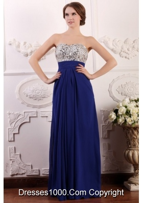 Chic Sweetheart Empire Chiffon Beaded Brust Prom Gown Dress in Blue