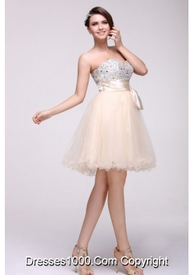 Lovely Champagne Sweetheart Short Prom Party Dress with Beading