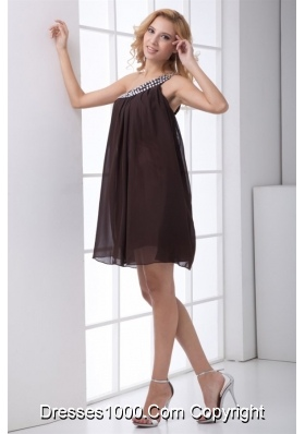 Cheap Empire One Shoulder Brown Prom Dress with Side Zipper